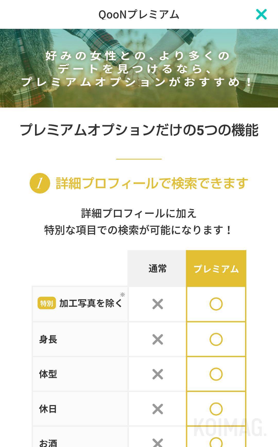 デーティングアプリ『QooN』のプレミアムモードについて。